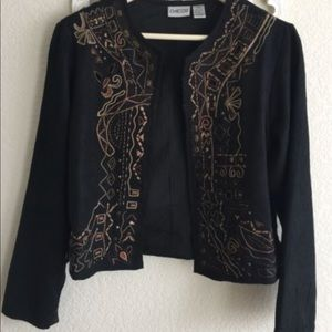 Chicos Jacket Short Black Embroidered Gold